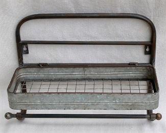 """$30 - Galvanized metal shelf with towel bar, shelf has gallery & folds up.  W: 18""""   H: 13""""   D: 7"""" [Bin 12B]"""