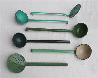 "$50 - LOT Green enameled strainers.  W: 5""   handle length: 10.5"" - 2 available Green enameled ladles.  W: 4""   handle length:  10.5-12.0""  - 4 available [Bin 12A]"