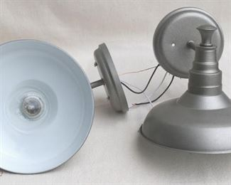 """$45 - Lot of 2 wall-mounted metal light fixtures, pewter color, no cage for bulb, new & never used.  W: 9""""   H: 9""""   D: 10.5""""   diameter of base: 5.5"""" [Bin 11B (dup)]"""