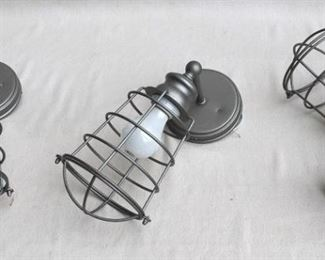 """$36 - LOT of 3 wall-mounted metal light fixtures, pewter color, cage for bulb, new & never used.  W: 6.5""""   H: 14""""   D: 7.5""""   diameter of base: 5"""" [Bin 11A (dup)]"""