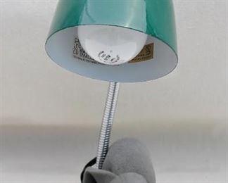 """$20 - Desk lamp, goose neck, green enamel. Brand new, never used.  H: 14.5""""   base diameter: 6"""""""