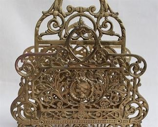 """$30 - Letter/Magazine holder, cast metal, brass finish, ornate, 2 compartments.  W: 10""""   H: 11.5""""   D: 5"""""""