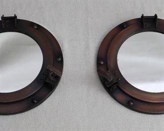 "$20 - Pair of round mirrors, porthole-styled frames, antiqued bronze finish.  D: 2.5""   mirror diameter: 5.5""   outside diameter 9"" [Bin 11B]"
