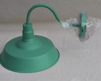 $30 - Lamp for indoor wall, mint green metal. Brand new, never used.  L: 13.5"