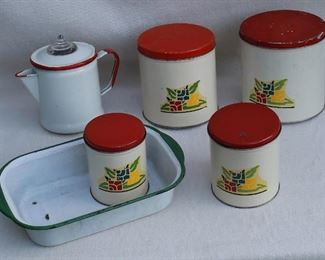 $60 - LOT- Vintage art deco set of 4 metal canisters - Vintage rectangular green & white enamel pan   - Vintage red & white enamel coffeepot w/ clear glass dome. AS IS:  missing basket and spindle missing [Bin 10A]