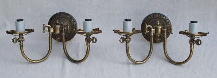 """$75 - Pair of wall sconces, reproduction of electrified gas fixtures, 2 branches for narrow-base candle bulb, antiqued brass finish, Custom Lighting, model S63.  W: 15""""   H: 11""""   globe base diameter: 4.5""""    8"""" high w/o globes"""