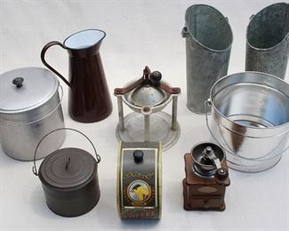 $60 - LOT - Enameled brown/white pitcher  - 2 pails w/ bail handles and lids   - Coffee grinder  - Coffee cannister w/ goldfinch  - Gradated pail w/ bail handle, no lid  - 2  galvanized pitchers w/o handles  - Mystery grinder [Bin 9B]