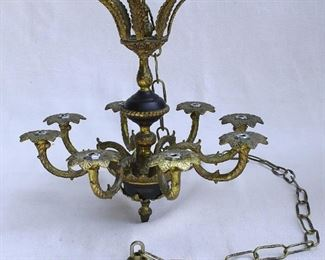 "$75 - Hanging chandelier for 8 candles, brass & ebony.  W: 15.5""   H: 15.5""   chain length: 50"" [Bin 8B]"