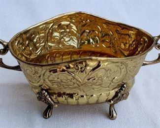 "$20 - Stamped brass bowl w/ handles.  L: 10""   W: 5.5""   H: 4.5""  [Bin 7B]"