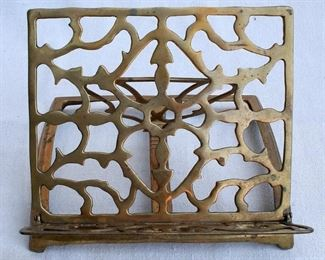 """$40 - Cast brass tabletop bookstand, adjustable, collapsible.  W: 8.5""""   H: 7""""   D: 9""""   [Bin 7B]"""