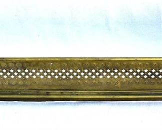 """$125 - Fireplace fender, brass, stamped & perforated decoration, 4 cast claw feet.  L: 41""""   H: 8""""   D: 14"""""""