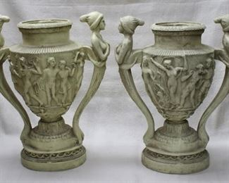 """$30 single cast resin urn , dancing figures w/ phrygian caps as handles and on urn, decorative use only.  W: 17""""   H: 20.5""""   D: 10"""" [Props]  ONE SOLD ONE AVAILABLE"""