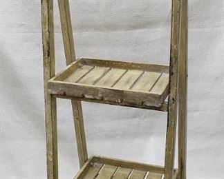 """$120 - Wood display stand, folding, 2 shelves, hanging sign w/ 3 knobs and 9""""x5"""" chalk board on one side.  W: 14""""   H: 38""""   D: 12.5"""" [Props]"""