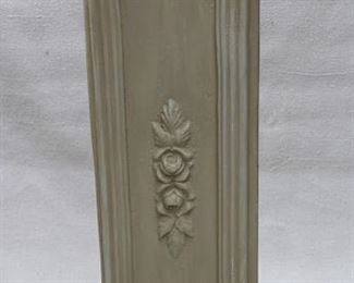 """$45 - Square column w/ cast roses & leaves, painted cast resin (?).  L: 9.5""""   W: 9.5""""   H: 29"""" [Props]"""