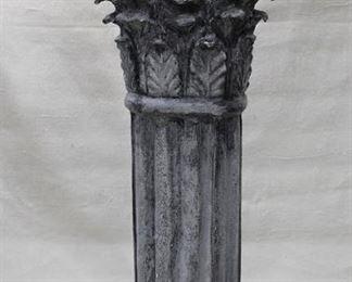 "$45 - Corinthian column pedestal, painted imitation stone, lightweight.  L: 13.5""   W: 12""   H: 30"" [Props]"
