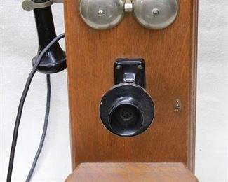 """$75 - Prop telephone,  oak box, 2 bells, speaker, earpiece on cord, shelf for writing, 2 holes for hanging.  W: 9.5""""   H: 21""""   D: 15"""" [Props]"""