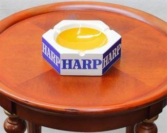 "$15 - Hexagonal ashtray, ""HARP"" written on each side, ceramic glazed blue and white outside yellow interior   Irish Items, Wade, England.  W: 6.25""   H: 2.25"" [Irish items]"