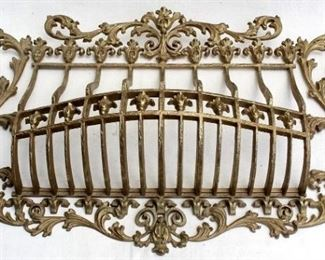 """$40 - Window grille: ornate plastic """"brass"""", decorative use only.  W: 31.5""""   H: 18.5""""   D: 6.5"""" [Props]"""