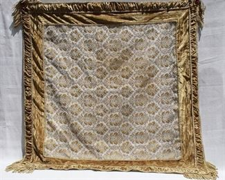 """$45 - Table cover, velvet and brocade, lined, fringe at corners.  L: 45""""   W: 45"""" [Props]"""