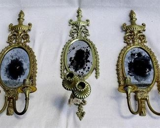 """$40 - Sconce with mirror: Antiqued oval mirrors in ornate frames, 2 branches for candles.  Left and right sconces are identical; center sconce was altered for performance.  W: 6.5""""   H: 13""""   D: 4""""  [Props]"""