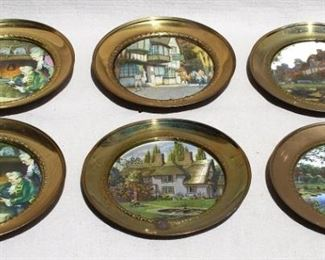 """$55 - Set of 6 picture plates: English scenes in round brass frames, self-hangers.  W: 7.5""""   D: 0.5""""  [Props]"""