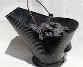 "$25 - Coal scuttle, black metal, utilitarian design w/ two handles, contains ""coal"".  L: 16.5""   W: 12.5""   H: 16.5""  [Props]"