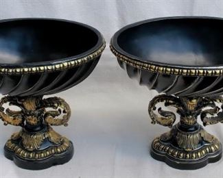"""$40 - Pair of mantel ornaments, oval bowls, black and gold painted resin.  W: 13.5""""   H: 12""""   D: 10""""  [Props]"""