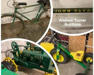 John Deere collectibles, bicycle etc.