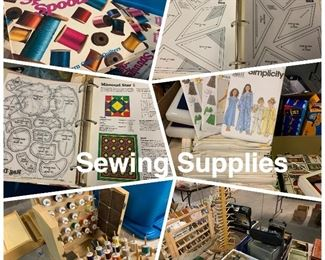Sewing supplies, thread patterns etc.