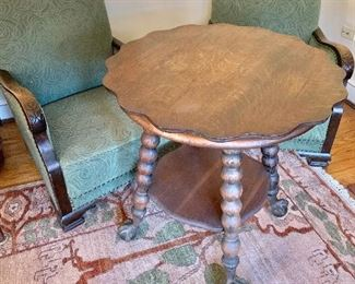"$250 - Vintage oak table with ball, claw feet - 28 diam, 29.75"" H."