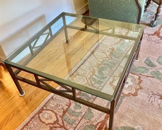 "$250 - Metal, glass coffee table - 36"" W, 36"" D, 16"" H."