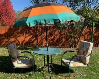 $200.00................UNIQUE Retro Vintage Antique Metal Patio Table, 2 Chairs and Umbrella very good condition for age (P031)