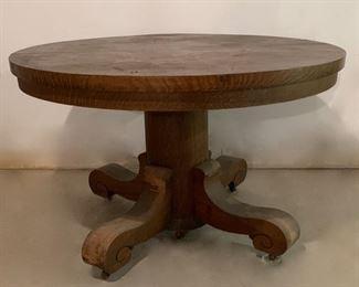 "$100.00............Antique Oak Table 4'2"" Diameter, no leaves, need refinishing, nice hefty base (P631)"