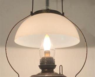 $140.00.............Primitive Antique Bradley & Hubbard  (B & H) Oil Lamp that has been electrified (P624)