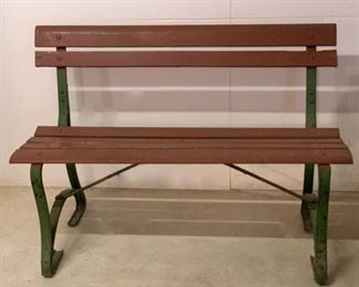 """$80.00.............Vintage Wood and Metal Yard Bench.      47 1/2"""" X 22"""", 33"""" Tall (P622)"""