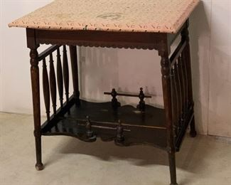 """$45.00...........Small Ornate Antique Table, has contact paper attached on top, needs painting or refinishing, 28"""" x 20"""", 28"""" tall (P617)"""