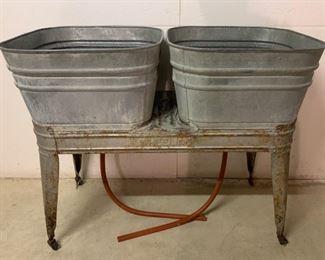 $150.00..............Vintage Double Galvanized Wash Tubs (P611)