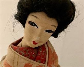 "$20 - Silk Chinese Doll #1; 14"" tall on a 6"" square base, handpainted face"