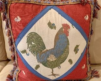 "$20 - Rooster Pillow with Tassel Trim; feather filled insert; 13"" H x W"" 12"