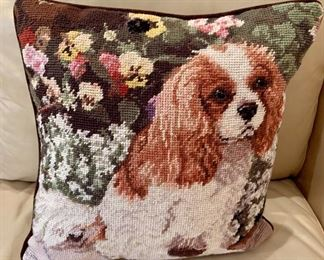 "$20 - Cavalier King Charles Spaniel Needlepoint Pillow; 13"" square, cotton and wool"