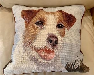 "$20 - Jack Russell Terrier Needlepoint Pillow; 13"" square, cotton and wool"