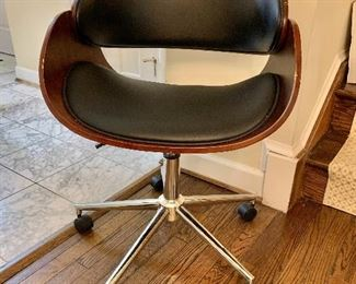 "$95 - Mid Century Style Rolling Office Chair; as is, some nicks to the wood frame. 30.5"" H x 21"" D x 22.5"" W"