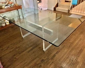 "$950 - Contemporary Dining Table with Glass Top and Lucite and Metal Base; As is: two chips in the glass near one corner; 29.5"" H x 80"" x 44"""