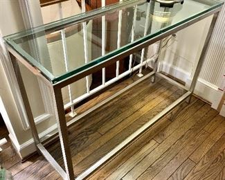 "$250 - Glass Console table with Metal Base; 29.5"" H x 14"" D x 42"" W"
