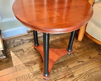 "$125 - Ethan Allen Empire Side Table, 21"" H x 18"" diameter; solid wood, small scratch on top"
