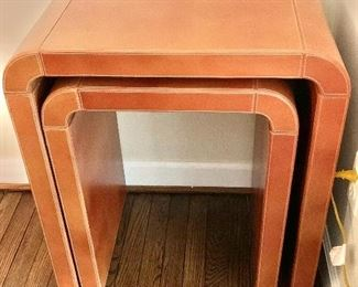 "$295 - Pair of Leather Covered Nesting Tables; largest is 27"" H x 15"" D x 24"" W (smaller is 24"" H x 15"" D x 18"" W"