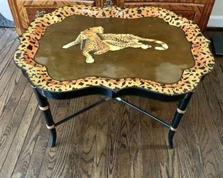"$495 - Maitland Smith Handpainted Cheetah Tray Table, 19"" H x 24"" D x 31"" W"