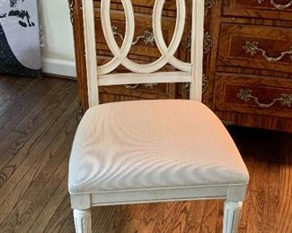 "$95 - White Side Chair 39.5"" H x 25"" D x 21"" W, seat height is 19"""