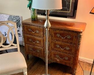 "$75 - Standing Lamp, tested and working. 62"" H with a 15"" diameter shade, 10"" diameter base."
