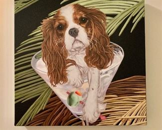 "$25 - Cavalier King Charles + Martini Printed Canvas; 18.5"" H x 18.25"" W"